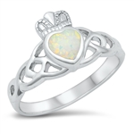 Silver Lab Opal Ring - Claddagh - $6.99