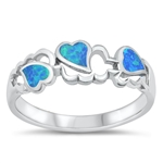 Silver Lab Opal Ring - Hearts - $6.22