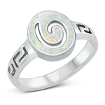 Silver Lab Opal Ring - Spiral - $10.4