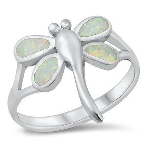 Silver Lab Opal Ring - Dragonfly - $9.8
