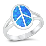Silver Lab Opal Ring - Peace Sign - $9.18