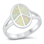 Silver Lab Opal Ring - Peace Sign - $10.1