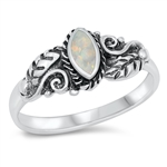 Silver CZ Ring - Leaves & Vines - $7.03