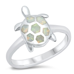 Silver Lab Opal Ring - Turtle - Start $6.69