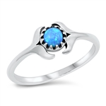 Silver Lab Opal Ring - Double Whale Tail - $4.72