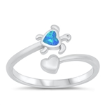 Silver CZ Ring - Turtle & Heart