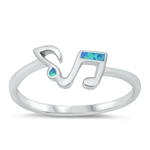 Silver CZ Ring - Music Notes