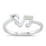 Silver CZ Ring - Music Notes - $6.27