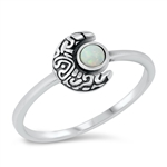 Silver CZ Ring - Crescent Moon - $3.93