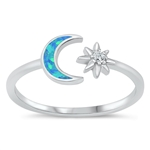 Silver Lab Opal Ring - Moon and Star - $5.95