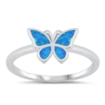 Silver Lab Opal Ring - Butterfly - $7.75