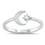 Silver Lab Opal Ring - Moon & Star - Start $4.67