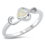 Silver Lab Opal Ring - Treble Clef Heart - $6.39