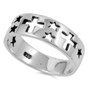 Silver Ring - Cross & Star  -  $4.98