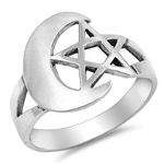 Silver Ring - Moon & Star  -  $6.82