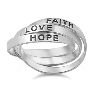 Silver Ring - Faith Hope Love - $9.89