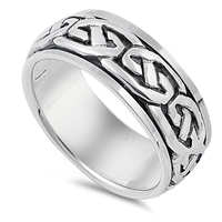 Silver Spinner / Celtic Design Ring - 14.00