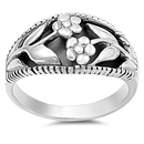 Silver Ring - Flowers - $7.61
