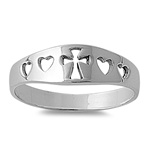 Silver Ring - Cross & Hearts - $4.82