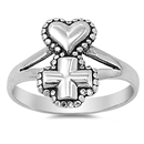 Silver Ring - Cross and Heart - $4.73