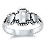Silver Ring - Cross and Heart - $4.00