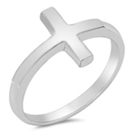 Silver Ring - Sideways Cross - $3.85