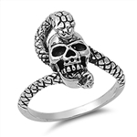 Silver Ring - Skull with Snake - $7.55