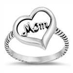 Silver Ring - Heart/Mom - $3.80