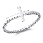 Silver Ring - Sideways Cross - $2.68