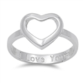 Silver Ring - Heart w/ I Love You Engraved - $5.15