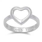 Silver Ring - Heart w/ I Love You Engraved - $5.67