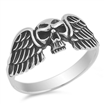 Silver Ring - Skull with Angel Wing - $6.05