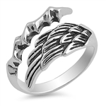 Silver Ring - Angel Wing with Eagle Claw - $6.42