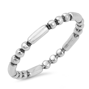 Silver Ring - Beads and Bar - Start $3.26