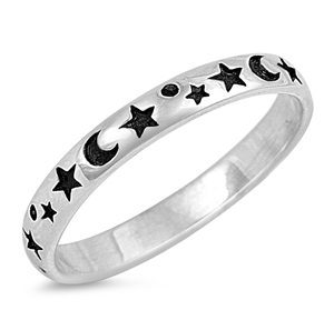 Silver Ring - Moon and Star - $3.79