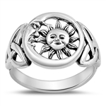 Silver Ring - Moon and Sun - $5.95