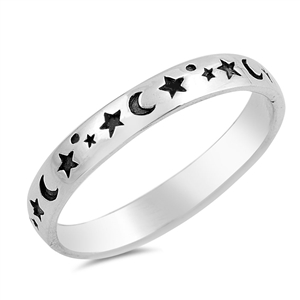 Silver Ring - Stars and Moon - $2.99