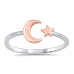 Silver Ring - Moon & Star - $3.32