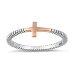 Silver CZ Ring - Sideways Cross - $2.99