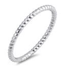 Silver Ring - Thin Diamond Cut Band - $2.53