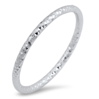 Silver Ring - Thin Diamond Cut - $2.67