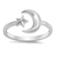 Silver Ring - Moon and Star - $3.29