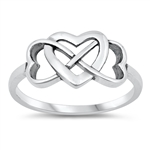 Silver Ring - Infinity Hearts - $3.25