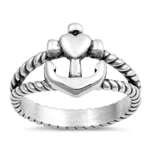 Silver Ring - Cross, Heart, and Anchor - $5.62