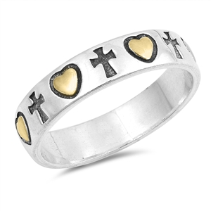 Silver Ring - Cross and Heart - $5.71