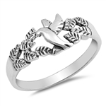 Silver CZ Ring - Flying Dove - $3.82