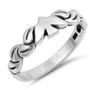 Silver CZ Ring - Dove and Leaves - $4.07