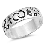 Silver CZ Ring - Eternity Cross and Dove - $5.98