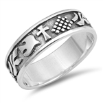 Silver CZ Ring - Cross and Dove - $5.39