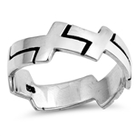 Silver CZ Ring - Connecting Crosses - $4.79